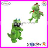 A196 Green Cartoon Soft Hand Puppet Animal Plush Animatronics Dinosaur Puppet