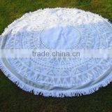 Mandala Tassels roundie beach towel with tassels pompom,Cotton Turkish Round Beach Towel with polyester tassels