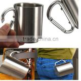 220ML Stainless Steel Mug Camping Cup Carabiner Hook Double Wall Outdoor Camp,Coffee, Tea