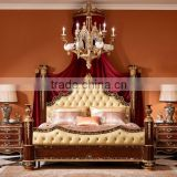 Exquisite Wooden Four Posted King Size Bed, Hand Painting Four-Poster Bed With Night Stand, Wood Carved Bedroom Furniture