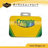 2016 newest design promitional and gift color pencil rectangle tin box with hanger
