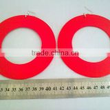 hot sale neon hollow out wood earrings, new trendy glitter wood hoop earring, fashion color wood jewelry