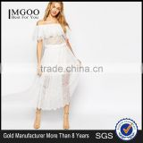 MGOO Design Vintage Boho Lace Off Shoulder Maxi Dress White Embroideered Elegant Bohemian Dress