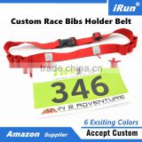Triathlon Race Number Belt with 6 Energy Gel Loops for Runner - Adjustable Size Fits All - Bibs Number Holder Belt Manufacturer