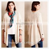 wholesale good quality women clothing open front poncho cotton acrylic sweater no button knit cardigan