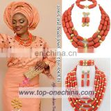 China suppliers coral beads jewerlies/african coral beads set jewerly/african coral beads set for nigerian wedding party