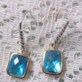 Gold Plated Sterling Silver Jewelry 8x10m Blue Topaz Noblesse Earrings(E-044)