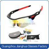 Guangzhou hot popular black frame anti-shock cycling sports glasses with interchangeable 4 lenses