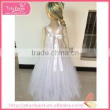 White cartoon long bubble dress girl dress with flower girl dress kid clothes