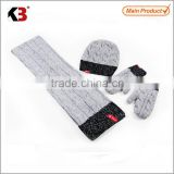 2015 New Arrival Unisex Acrylic Knitted Winter Hat Scarf Glove Set
