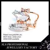 2015 Fashion sterling 925 silver ring south Korean jewelries double sweet bowknot set open ended rings for femal