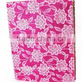 Flowers Woven Cloth Wrapping Ring Binder Desktop File Holder for Office Stationery Cardboard A4 or FC Size
