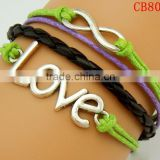 CB8025 Multi layer weave wax code romantic love and eight charms friendship vintage bracelet