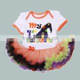 fancy baby orange tutus high quality infant first halloween romper Novelty Baby OEM service clothing printed witch hat