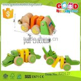 new product pull crocodile toys size 22.5*12.5*14 cm OEM intelligent wooden crocodile for kids EZ5127