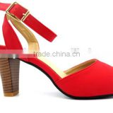 new high heel slingback ankle strap lady elegant office sandals with wood heel