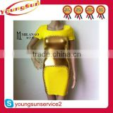 sexy girl shiny party dress fashion bandage yellow gold dresses