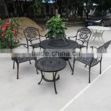 Charcoal Wood Burning Round Cast Aluminum Metal Outdoor Patio Garden Home Yard 4 Seat Barbecue Table Chair Set