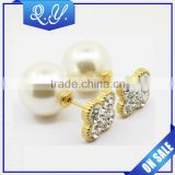 Coloful flat crystal pearl studs earrings fine jewelry design imitation pearl studs women's wedding shining crystal earrings