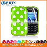 Set Screen Protector And Case For Blackberry 9320 , Polka Dots Gel TPU Fancy Phone Case