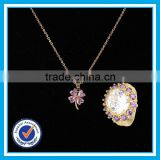 Flower necklace big stone ring sets indian bridal jewellery sets