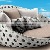high quality beach sun bed outdoor rattan round daybed black wicker with canopy