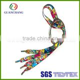 Newest printed custom eco-friendly polyester or cotton material and flat feature fancy elastic shoelace for sales