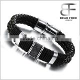 Mens Leather Punk Rock Bracelet 316L Stainless Steel Charms Clasp, Black Silver wholesale