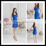 Real Sample Blue Spaghetti Strap Sheath Pleated Sequins Short Mini Cocktail Dresses xyy07-072