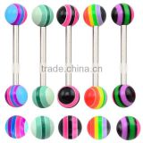 TR01041 resin tongue barbell piercing , plastic custom tongue rings