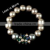 2015 Hot Fashion 10mm Pearl Bracelets With Buddha Head Bead For Gifts