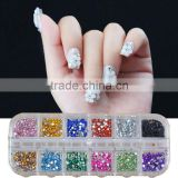 500Pcs 2mm Round Rhinestones 12 Colors Hard Case NAIL ART Tips Acrylic UV Gel