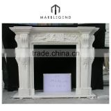 Hot Sell Customized natural white marble freestanding wood fireplace