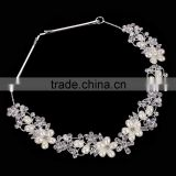 2016 New High Quality Crystal Elegant Intellectual Imitation Pearl Flower Bride hairbands Wedding Hair Jewelry for woman
