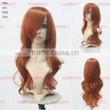 Diana synthetic cheap color long camel brown hair body wave bangs woo wigs