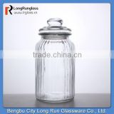 LongRun 2015 Stocked Feature 32oz homeware Vintage-Style Ribbed Nuts food Glass Jar Glassware manufacture
