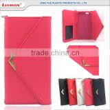luxury plain pattern strap two card holder envelope style leather wallet case for nokia lumia mobile phones