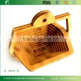 BK025 LFGB FDA bamboo fruit picking basket 100% eco-friendly anti bacteria fruit basket, kitchen ware