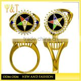 Jingli Jewelry copper alloy gold plated eastern star rings, custom masonic OES charm rings for women (HG-048)