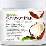 Coconut Milk Body Scrub with Dead Sea Salt, Almond Oil and Vitamin E for All Skin Type, 12 oz