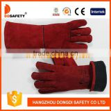 DDSAFETY Wholesale Red Industrial Leather Hand Gloves With Lining And Palm One Piece Back