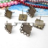 10mm 12mm Antique Bronze Square Ear Studs Lace Edge Blank Base Earring Tray For Cabochon Bezels Setting