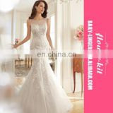 Sexy See Through Lace Mermaid Gown Spring Summer New Wedding Bride Dress