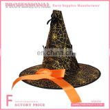 Gold polyester cuspidal witch hat with printed spider web and orange satin ribbon decorated