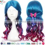 popular long mazarine curly wig purple blue mixed cosplay wig