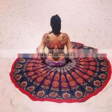 Indian Cotton Round Mandala Table Cover Hippie Wall Hanging Mandala Tapestry Yoga Mat beach Throw