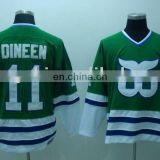 Hartford Whalers # 11DINEEN Green VINTAGE hockey jersey