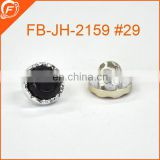 16L black combined resin rhinestone buttons with ABS shank for garment