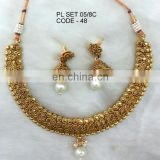 Goldplated necklace jewelry set manufacturer, antique gold-plated necklace jewellery sets exporter