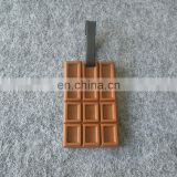 106x65mm standard size personalized chocolate shape rubber luggage tag